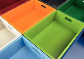 Sturdy wooden and plastic materials boxes.